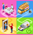 food truck bakery bread home delivery isometric vector image vector image