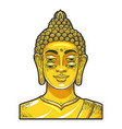 four eyes buddha golden statue sketch vector image