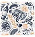 french food vintage backdrop hand drawn wine vector image