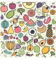 fruits and vegetables pattern vegetarian set vector image