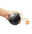 Hand Holding A Bomb vector image vector image