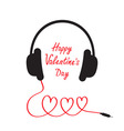 Happy Valentines Day Love card Headphones and cord vector image vector image