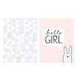 hello girl hand drawn card and irregular pattern vector image vector image