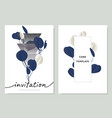 invitation card template blue and white leaves vector image vector image