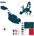 Malta and European Union map vector image vector image