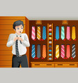 man shopping for a tie vector image vector image