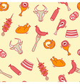 Meat seamless pattern with eat elements sausage vector image vector image