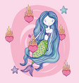 mermaid cute drawing vector image