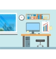 Modern office interior with designer desktop vector image vector image