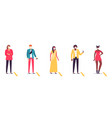 people in line keeping social distance diverse vector image vector image