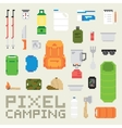 Pixel art camping goods isolated objects vector image vector image
