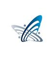planet and orbit logo fushion logo satellite logo vector image vector image