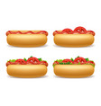 realistic 3d detailed hot dogs different set vector image vector image