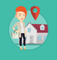 realtor on background of house with map pointer vector image vector image