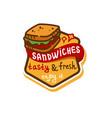 sandwich logo icon vector image vector image