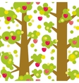 Seamless pattern - large trees with red apples and vector image vector image