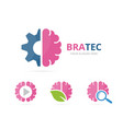 set brain logo combination education and vector image vector image
