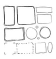 set of black hand-drawn frames in different vector image vector image