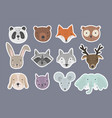 set of cute cartoon hand drawn animals stickers vector image