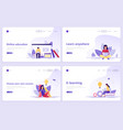set of landing page templates distance education vector image
