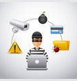 thief hacking data technology fraud vector image vector image