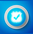white shield with check mark icon isolated vector image