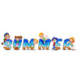 word summer with happy kids vector image vector image