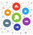 7 aquatic icons vector image vector image