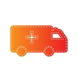 Ambulance sign Orange applique vector image vector image