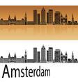 amsterdam v2 skyline in orange vector image vector image