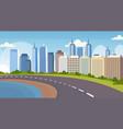 asphalt highway road between river and beautiful vector image vector image