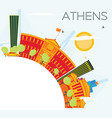 athens skyline with color buildings blue sky and vector image vector image