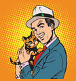 avatar portrait man with a kitten vector image vector image