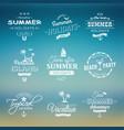 beach retro labels set on blue vector image vector image