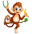 cartoon monkey on a branch tree and holding banana vector image vector image