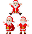 cartoon santa clauses collection set vector image