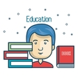 cartoon student education books read design vector image vector image