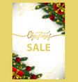 christmas sale card with gold geometric frame vector image