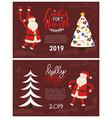 cookies santa greeting card 2019 new year holiday vector image vector image