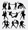 Couple ballet dancing silhouette vector image vector image