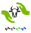 cow protection hands flat icon vector image vector image