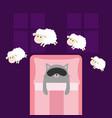 cute gray cat sleeping mask jumping sheeps cant vector image vector image