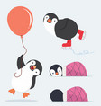 cute penguin characters set vector image