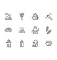 domestic personnel black line icons set vector image vector image