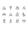 domestic personnel black line icons set vector image