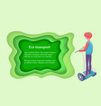 driver on segway eco transport wheels vector image vector image