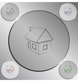 Flat paper cut style icon of house model vector image vector image