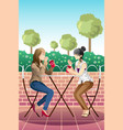 girls hanging out together vector image vector image