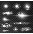 Glowing light flashes Sparkling stars sun beams vector image