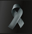 grey ribbon on black background vector image vector image